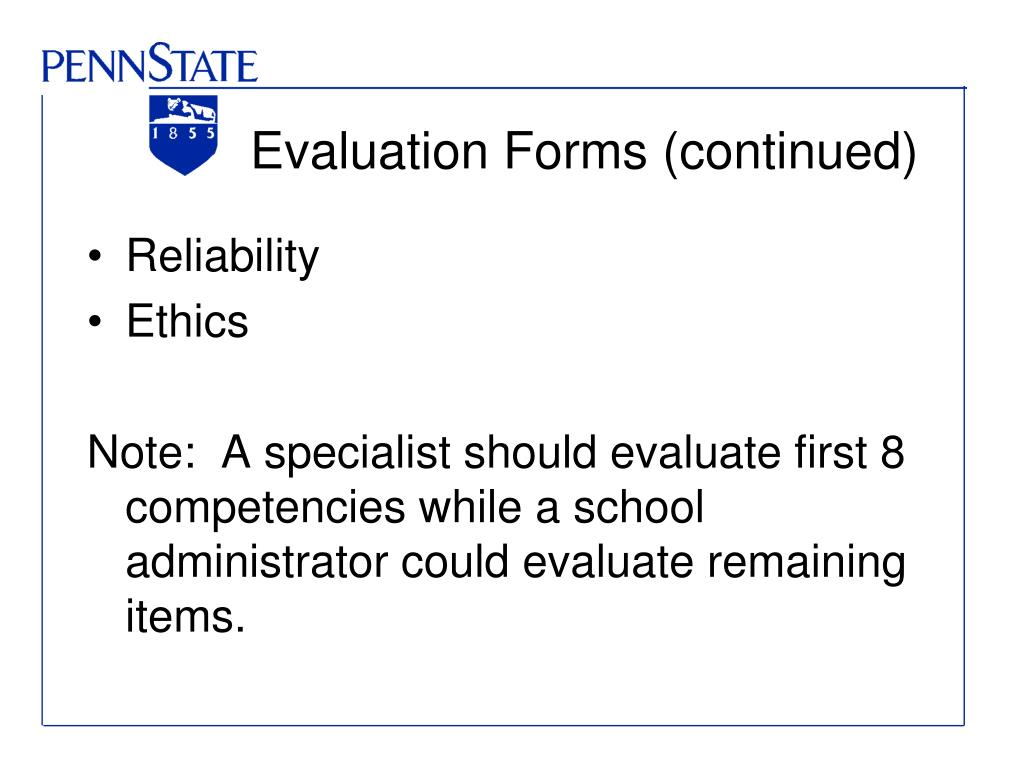 Evaluation Forms (continued)