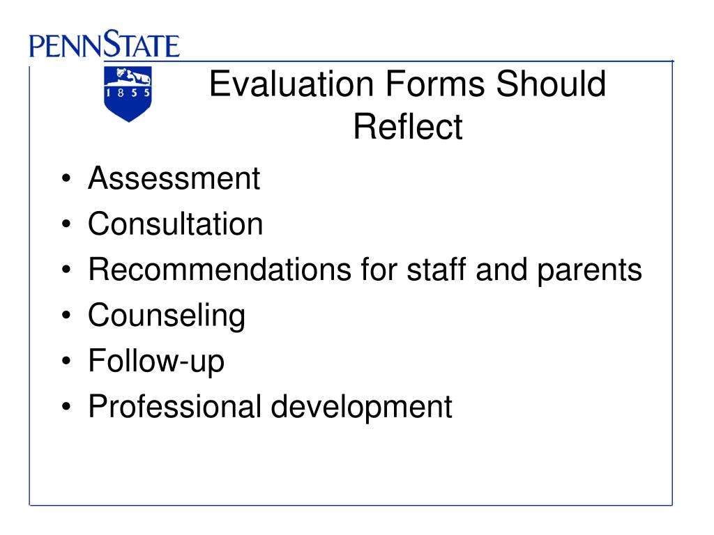 Evaluation Forms Should Reflect
