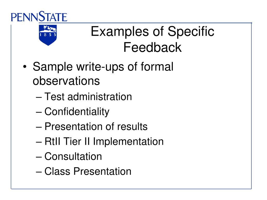 Examples of Specific Feedback