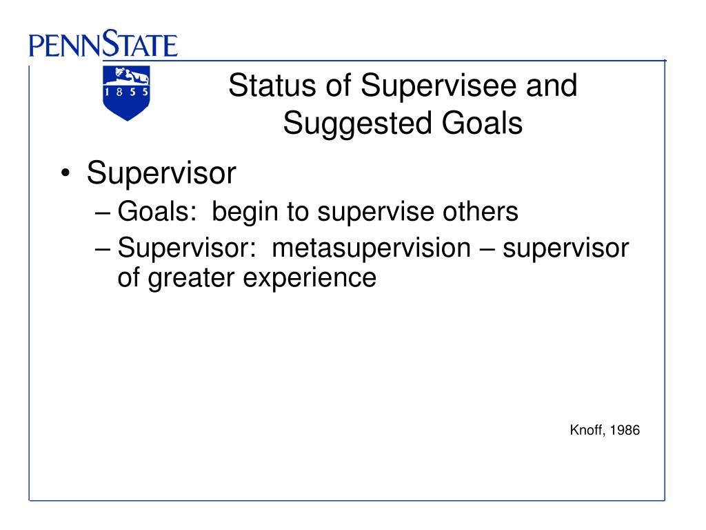 Status of Supervisee and