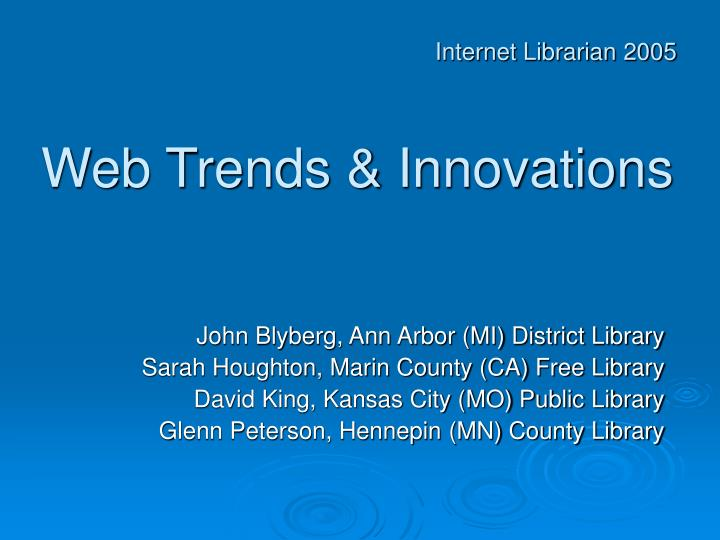 Web trends innovations