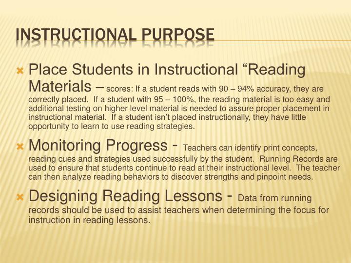 Instructional purpose