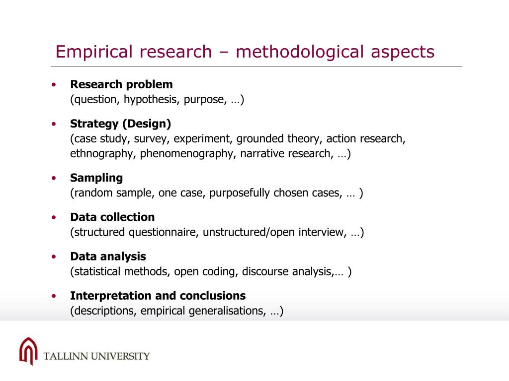 Empirical research – methodological aspects