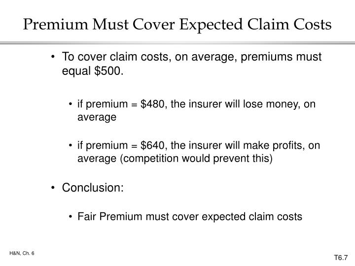 Premium Must Cover Expected Claim Costs