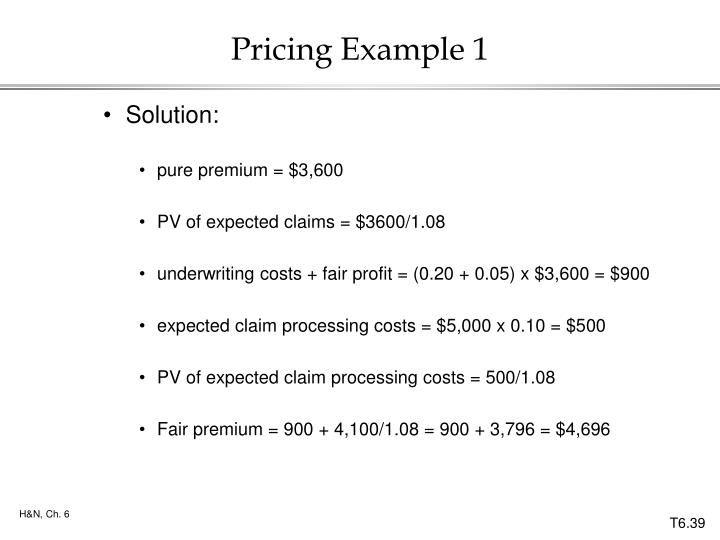 Pricing Example 1
