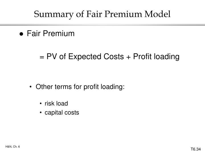 Summary of Fair Premium Model