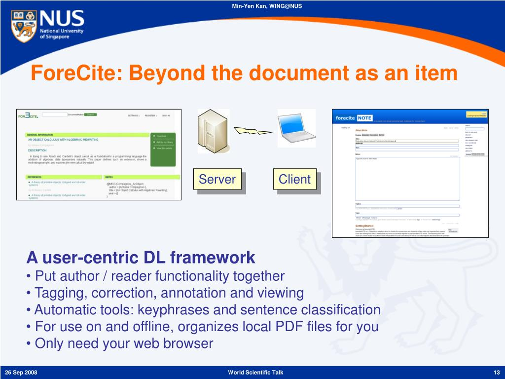 ForeCite: Beyond the document as an item