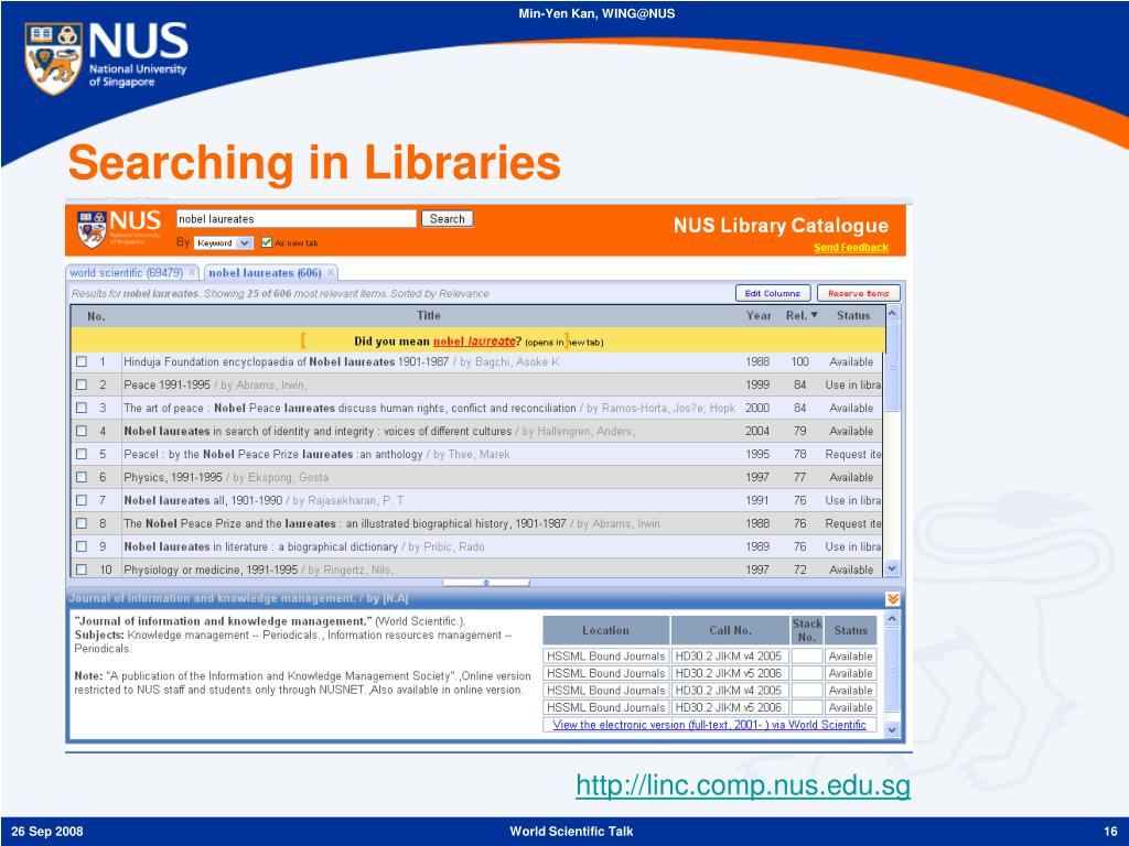 Searching in Libraries