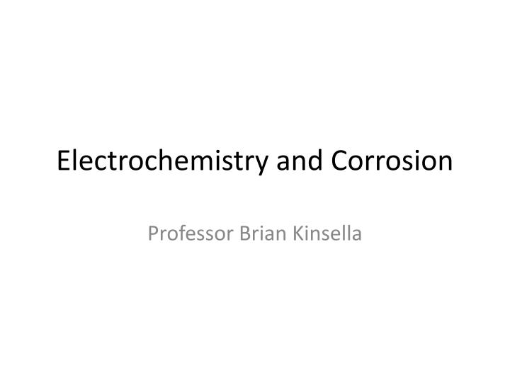 electrochemistry and corrosion n.