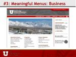 3 meaningful menus business