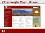 3 meaningful menus u home