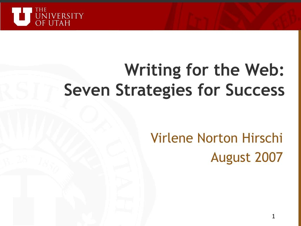 writing for the web seven strategies for success l.