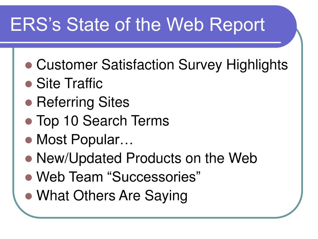 ERS's State of the Web Report