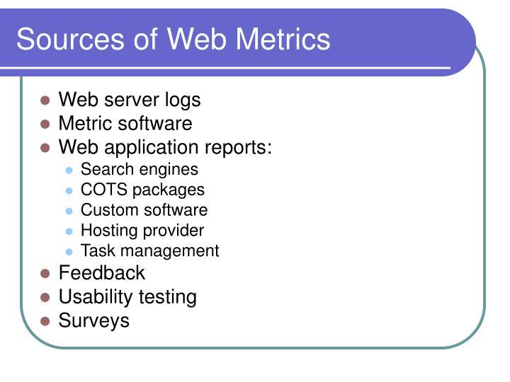 Sources of web metrics