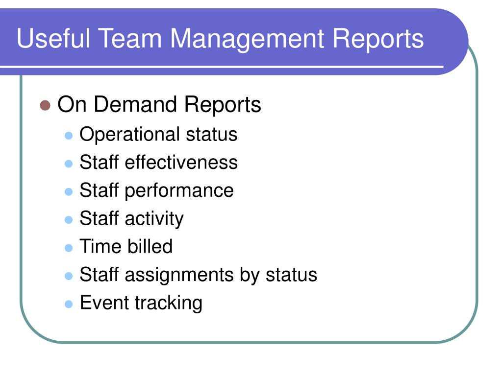Useful Team Management Reports