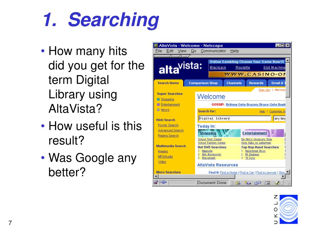 1.  Searching