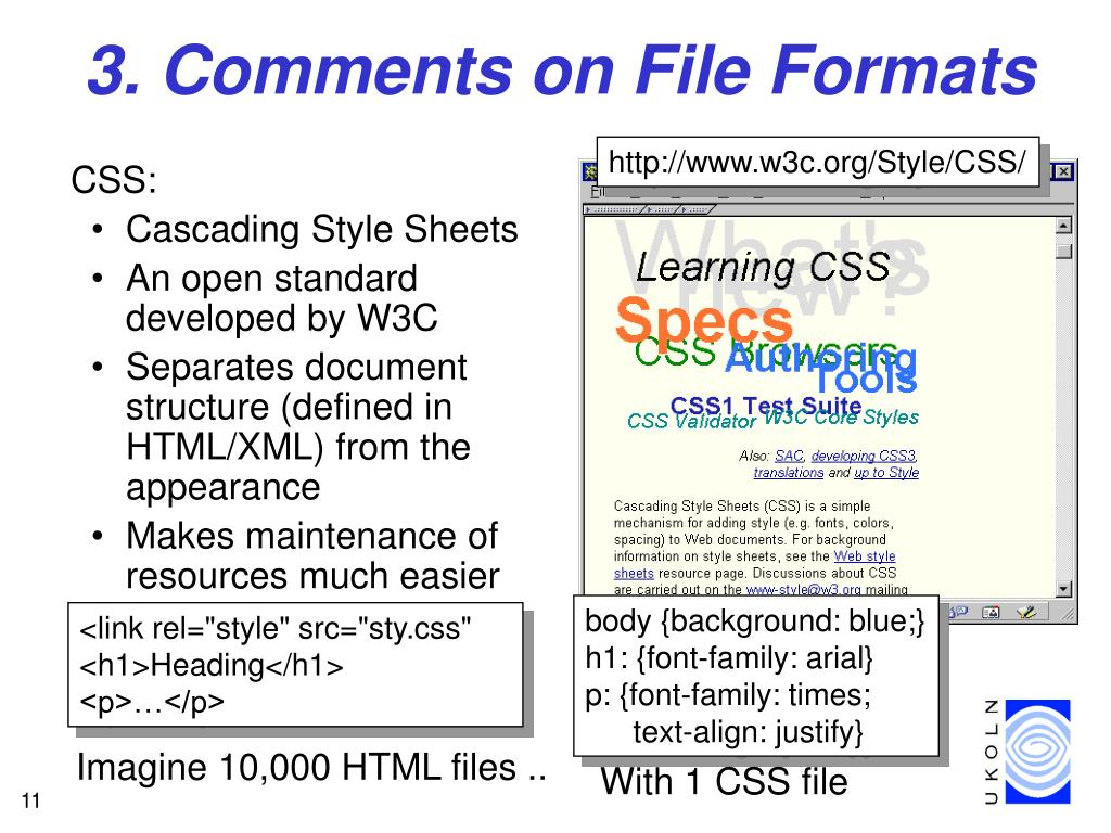 3. Comments on File Formats