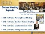 dinner meeting agenda