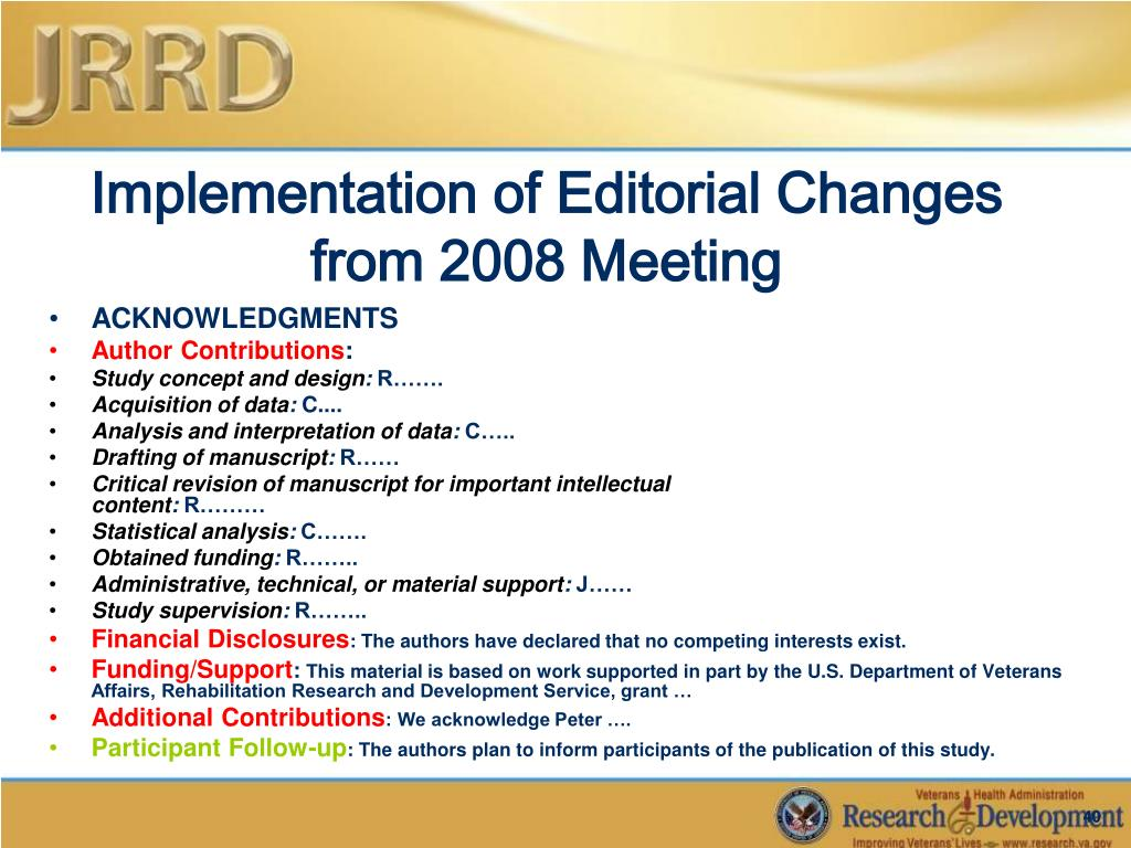 Implementation of Editorial Changes from 2008 Meeting