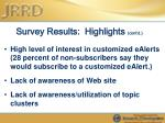 survey results highlights cont d