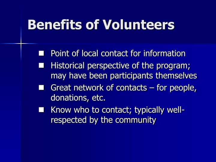 Benefits of Volunteers