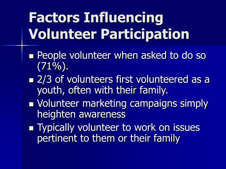 Factors Influencing Volunteer Participation