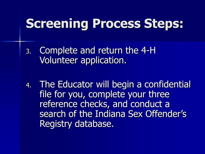Screening Process Steps:
