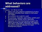 what behaviors are addressed