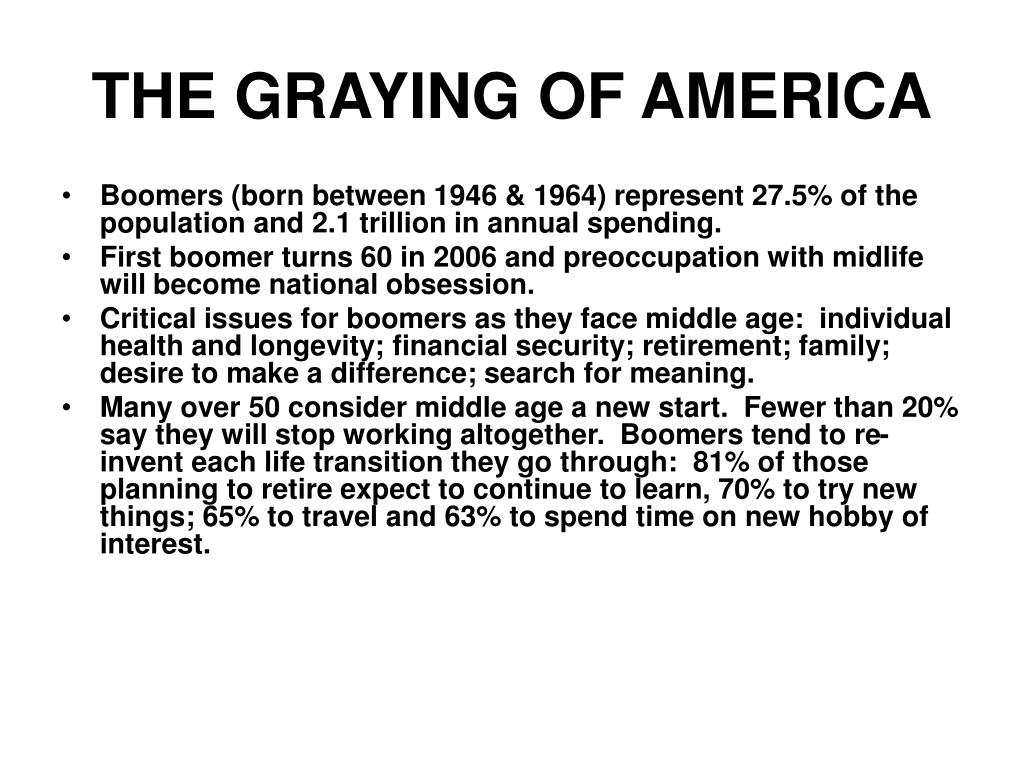 THE GRAYING OF AMERICA