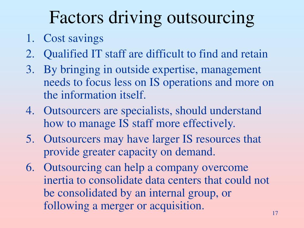 Factors driving outsourcing