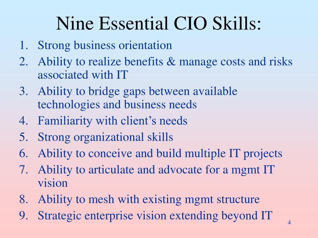 Nine Essential CIO Skills: