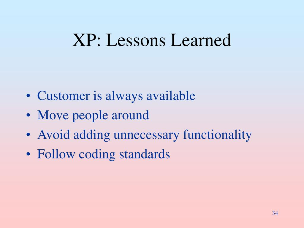XP: Lessons Learned