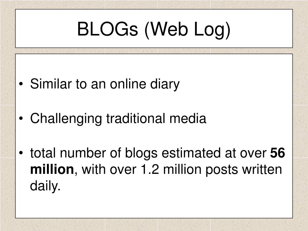 BLOGs (Web Log)