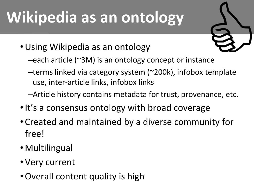 Wikipedia as an ontology