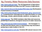 ag forestry water resources data sources