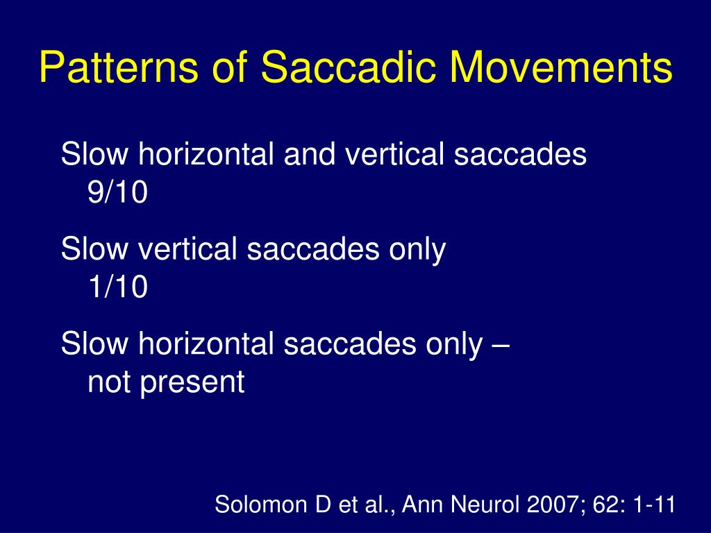 Patterns of Saccadic Movements