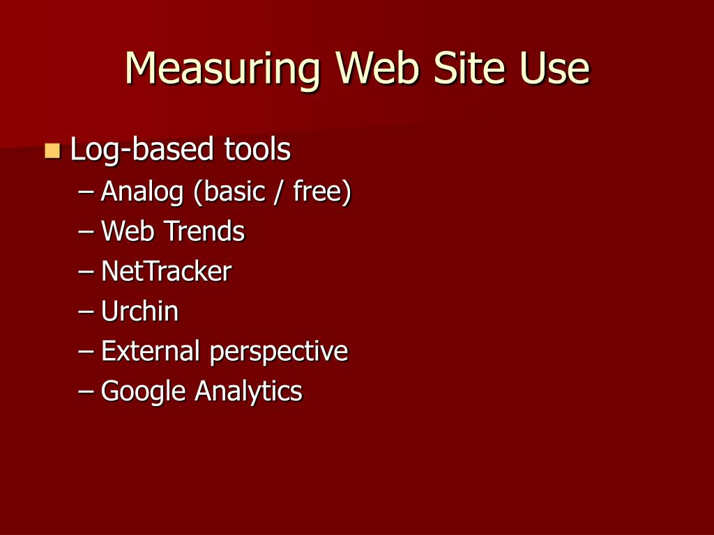 Measuring Web Site Use