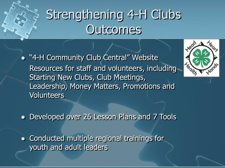 Strengthening 4-H Clubs Outcomes
