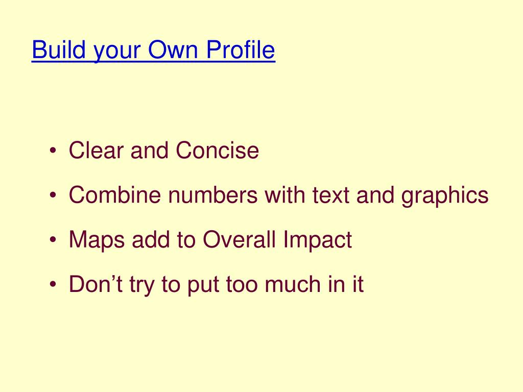 Build your Own Profile