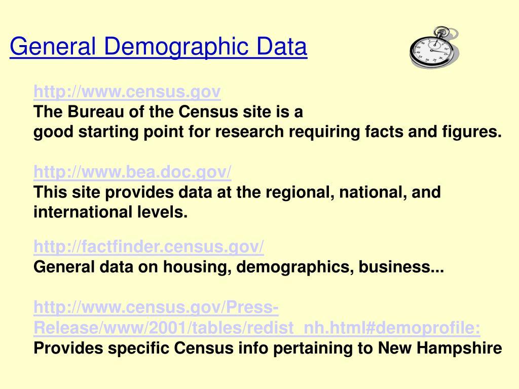 General Demographic Data