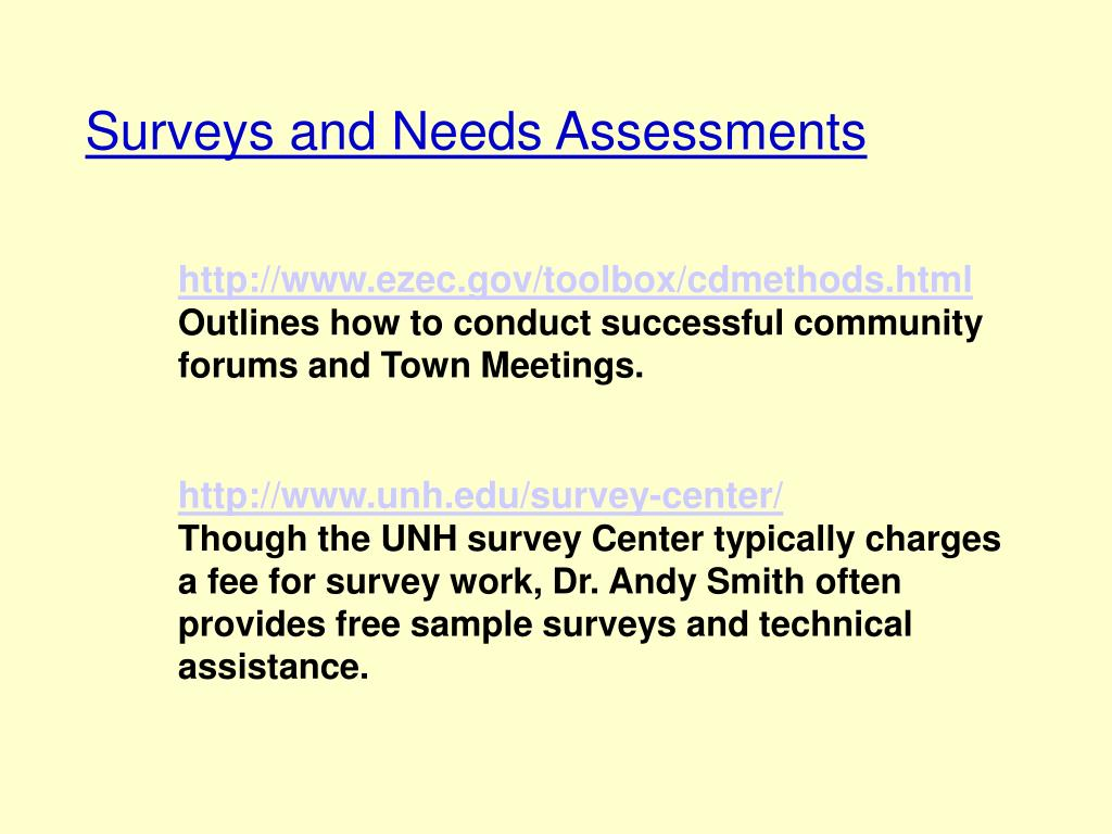 Surveys and Needs Assessments