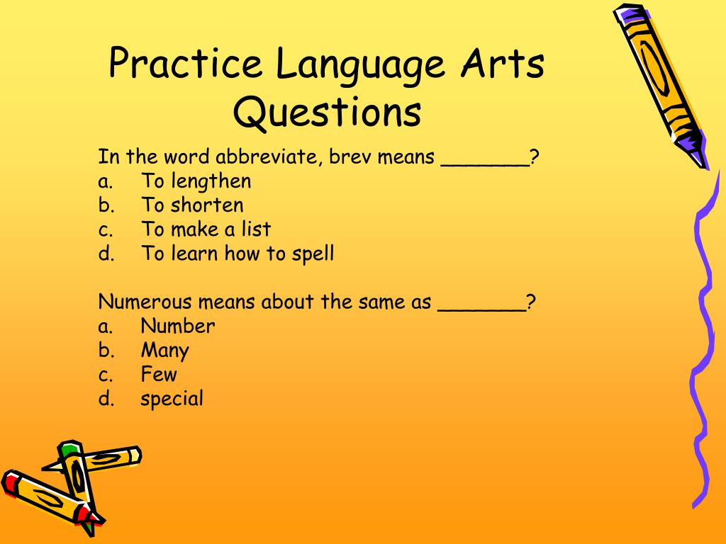 Practice Language Arts Questions