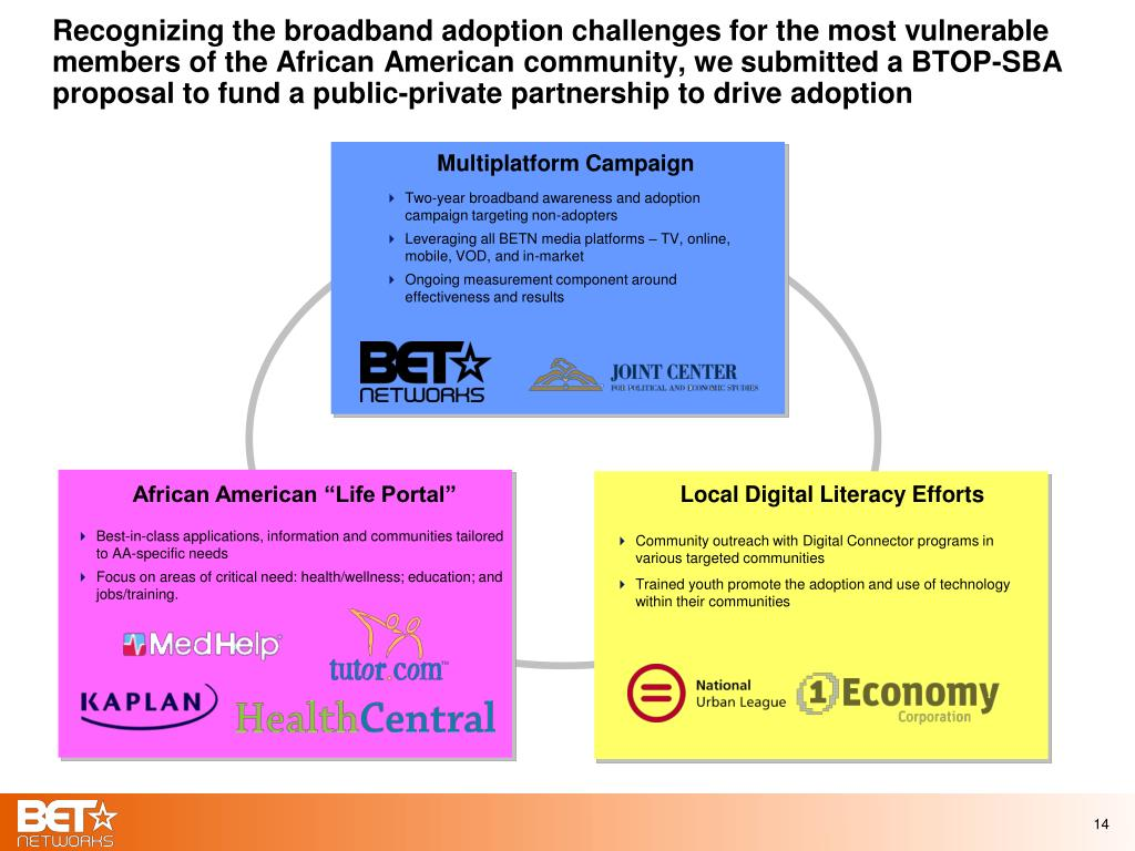 Recognizing the broadband adoption challenges for the most vulnerable members of the African American community, we submitted a BTOP-SBA proposal to fund a public-private partnership to drive adoption