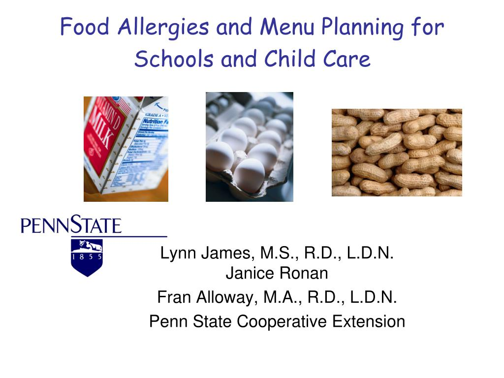 food allergies and menu planning for schools and child care l.