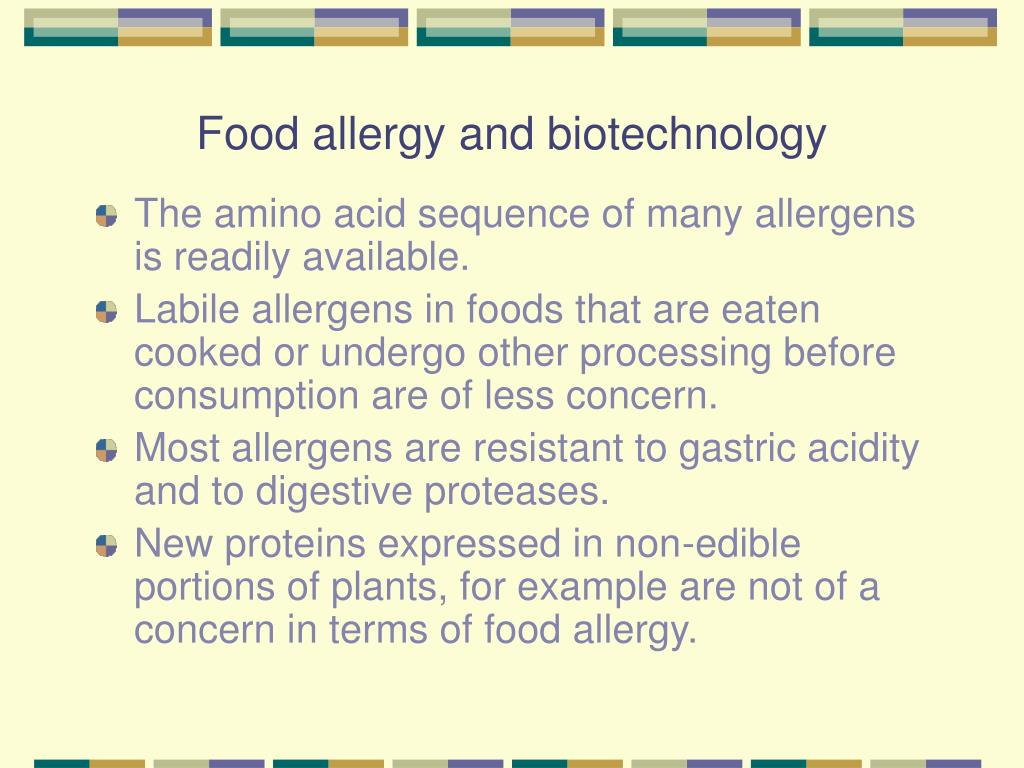 Food allergy and biotechnology