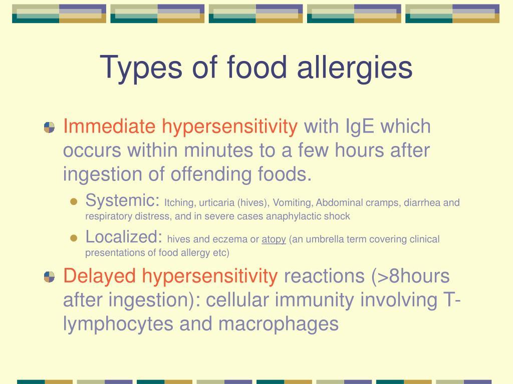 Types of food allergies