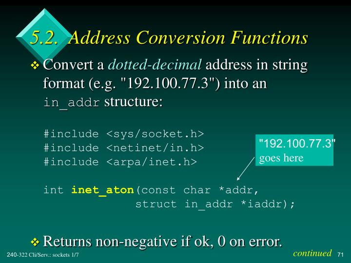 5.2.  Address Conversion Functions