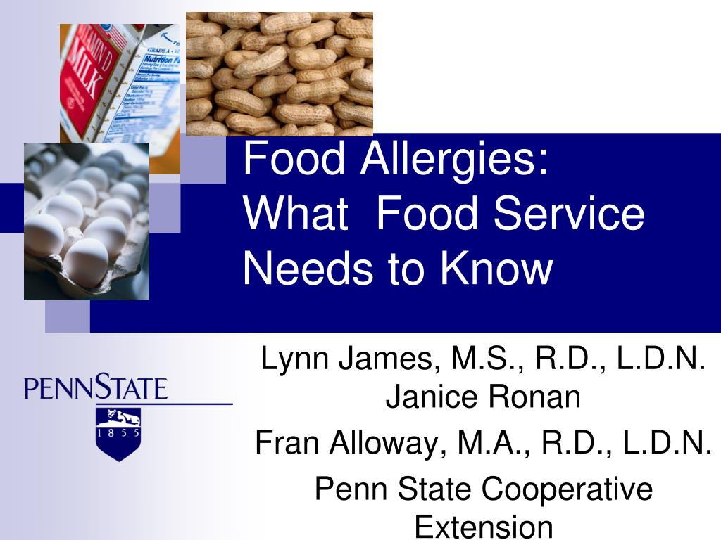 food allergies what food service needs to know l.