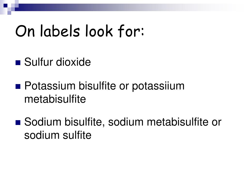 On labels look for: