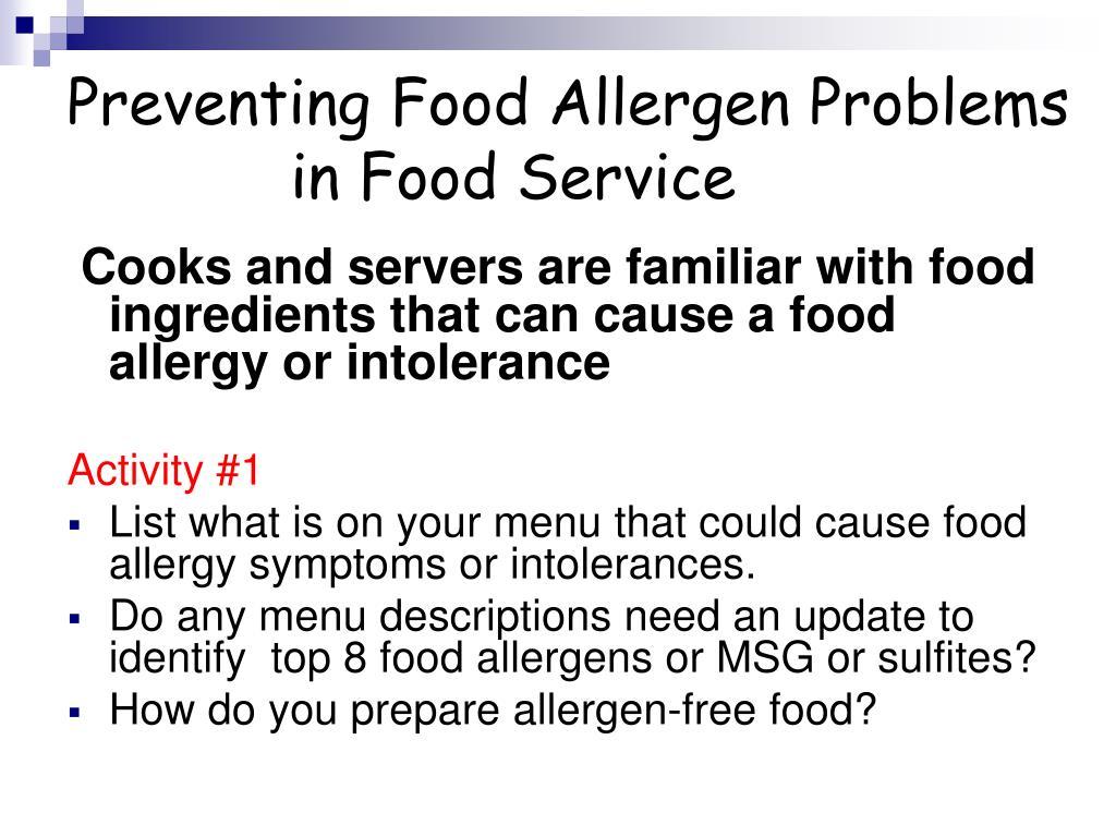 Preventing Food Allergen Problems in Food Service